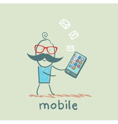 person receives a message from a mobile vector image vector image