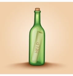 Realistic Bottle with a letter help vector image vector image
