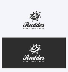 rudder helm logo design template vector image