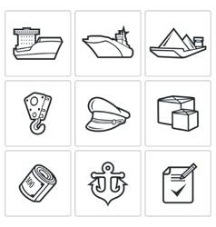 Sea craft icons vector