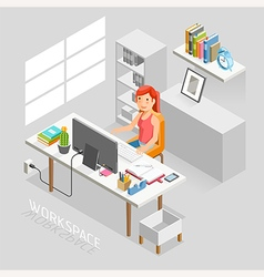 Work space isometric flat style vector