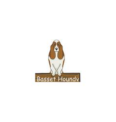 basset hound cartoon dog icon vector image vector image