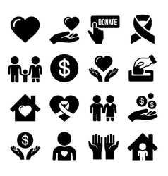 Charity and Care Icons Set vector image