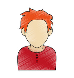 color pencil faceless half body man with t-shirt vector image vector image