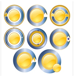 Gold circle banner blue vector image