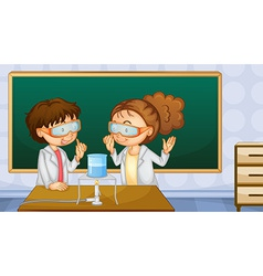 Students in lab vector image vector image