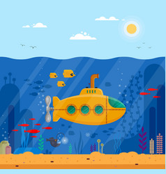 yellow submarine with periscope underwater concept vector image