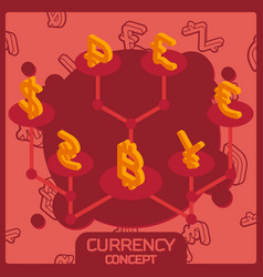 currency color concept isometric icons vector image