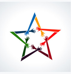 multiracial human hands in a star vector image vector image