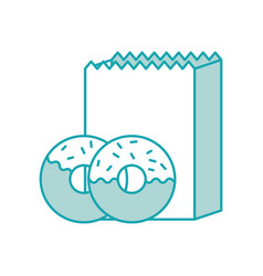paper bag witn donut pastry dessert icon vector image
