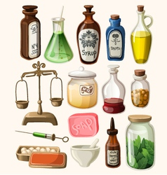 Set of vintage apothecary and medical supplies vector image