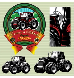 label with a tractor for livestock and crop vector image vector image
