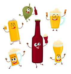 smiling funny beer bottle glass can mug hop vector image vector image