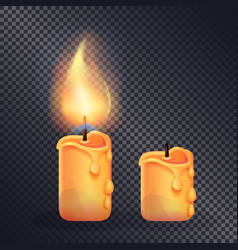 two wax candles on transparent background vector image vector image