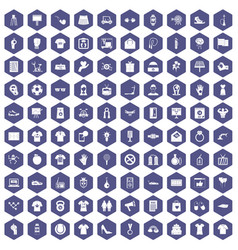 100 t-shirt icons hexagon purple vector