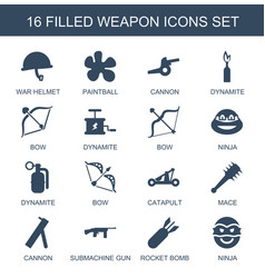 16 weapon icons vector