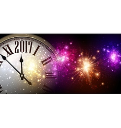 2017 New Year banner with clock vector image