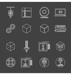 3d printer icons vector