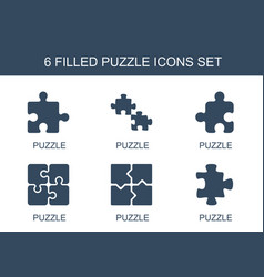 6 puzzle icons vector image