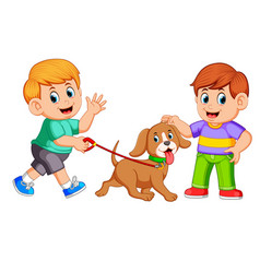a boy walking with his dog vector image
