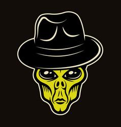 Alien head in fedora hat character colorful vector