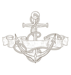 anchor with ribbon banner and rope hand drawn vector image