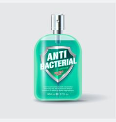 antibacterial sanitizer spray label shield vector image