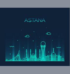 Astana skyline city kazakhstan linear style vector