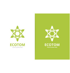 atom and leaf logo combination unique vector image