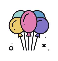 Balloon air balloon line icon birthday vector