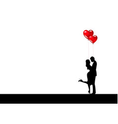 beautiful couple with balloons hearts valentines vector image
