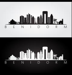 benidorm skyline and landmarks silhouette vector image