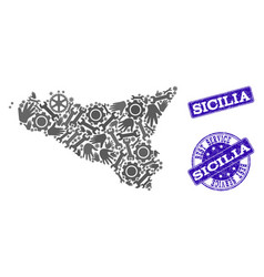best service collage of map of sicilia island and vector image