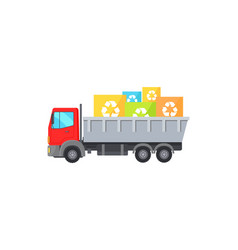 big red truck takes away square garbage signs vector image