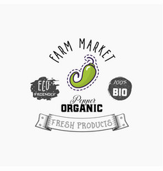 bio sticker and eco products chili pepper web vector image
