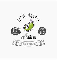 bio sticker and eco products chili pepper web vector image