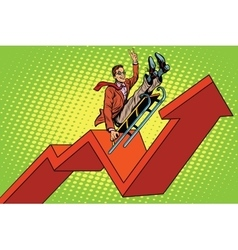 Businessman on a sled up arrow chart sales vector image