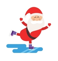 Cartoon Santa ice skates winter sport vector image