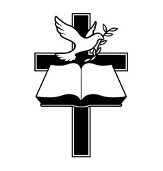 christian cross bible and dove with olive branch vector image