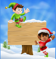 Christmas elves and sign vector