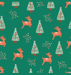 christmas holidays trees reindeer pattern vector image
