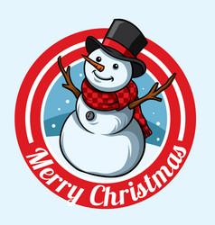 Christmas snowman badge design vector