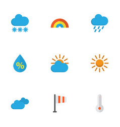 Climate flat icons set collection of shower snow vector