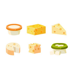 Collection of cheese assortment various types vector