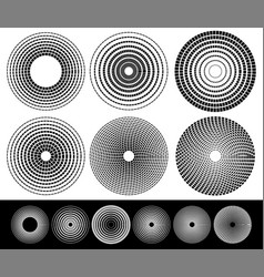 Concentric circle elements set of 6 variation vector