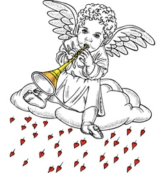 Cupid playing a pipe vector