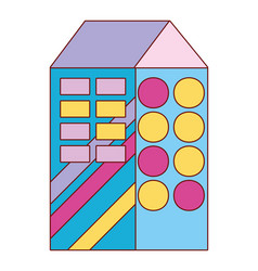 Cute apartment with windows and roof design vector