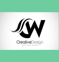 cw c w creative brush black letters design vector image