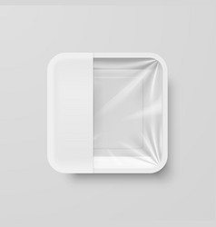 empty white plastic food square container with vector image