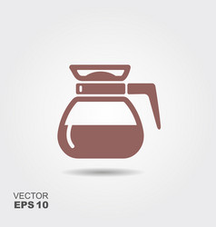 flat coffee pot icon vector image